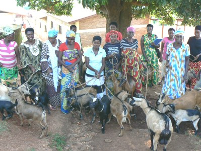 Beneficiaries with their Goats